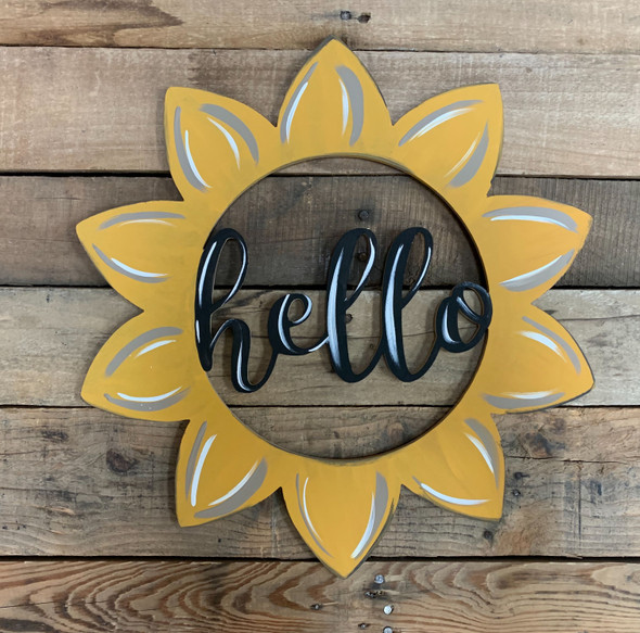 Hello Sunflower Wooden (MDF) Cutout - Unfinished  DIY Craft
