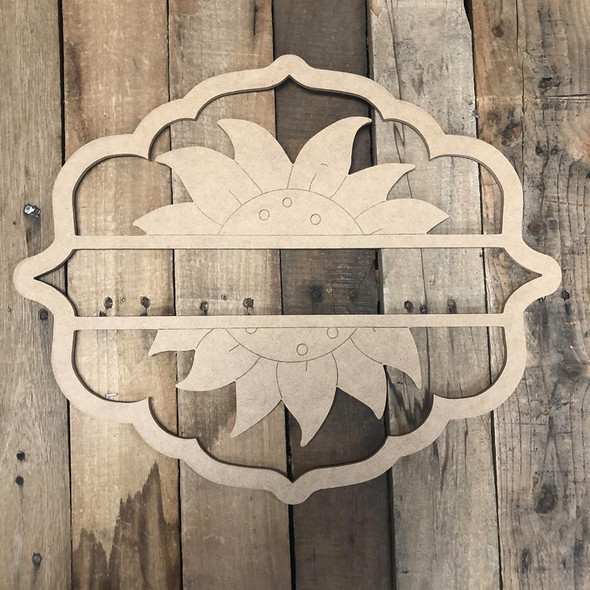 Sunflower, Paint by Line Name Frame - Unfinished DIY Craft