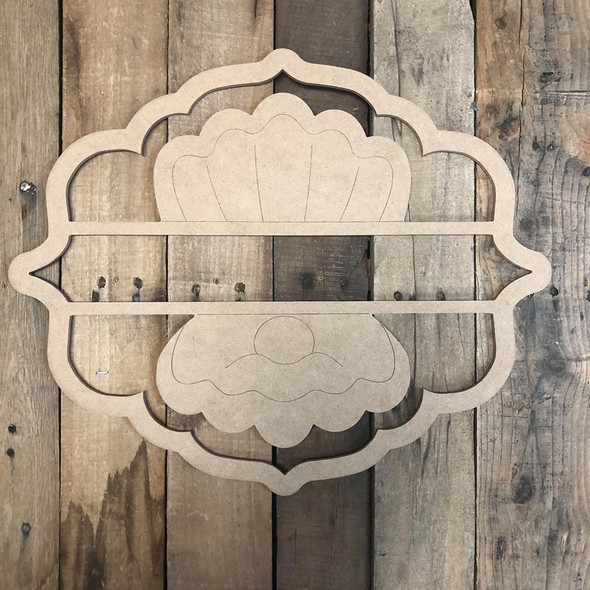Clam with Pearl, Paint by Line Name Frame - Unfinished DIY Craft
