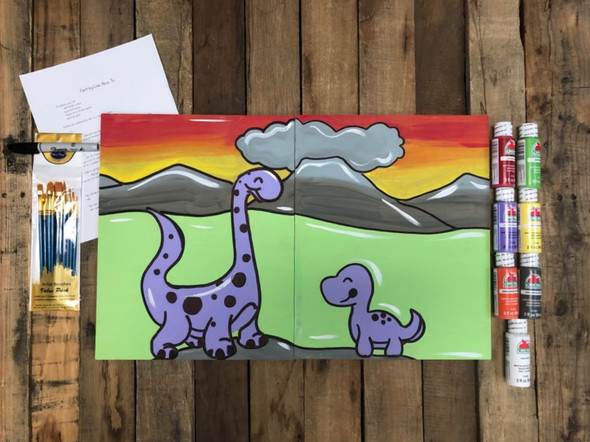 Painting for Two Dinosaur Paint Kit, Video Tutorial and Instructions