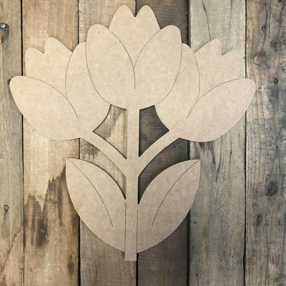 3 Flowers Wood Cutout, Unfinished Wall Decor Paint by Line
