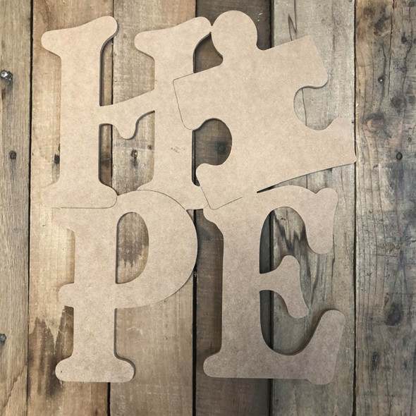 Hope with Puzzle Cutout, Unfinished Wall Decor Paint by Line