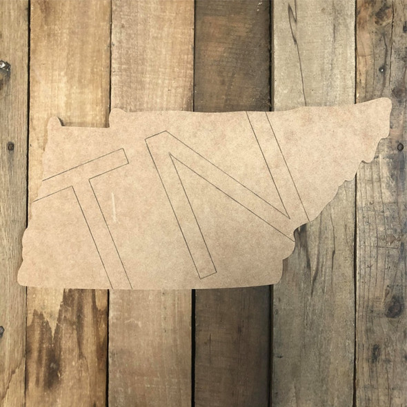 TN Tennessee Cutout, Unfinished Wall Decor Paint by Line