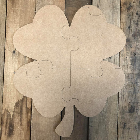 4 Leaf Clover Puzzle Cutout, Unfinished Wall Decor Paint by Line