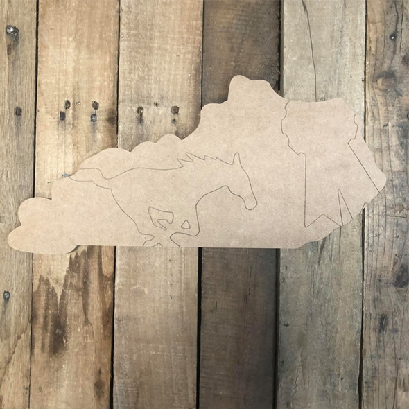 Kentucky Horse State Cutout, Unfinished Wall Decor Paint by Line