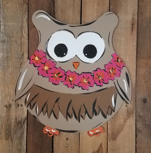 Hawaiian Luau Owl, Paint By Line, Engraved Summer Art Craft