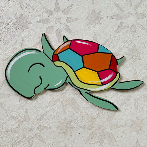 Baby Sea Turtle, Paint By Line, Ocean Nautical  Craft Shape