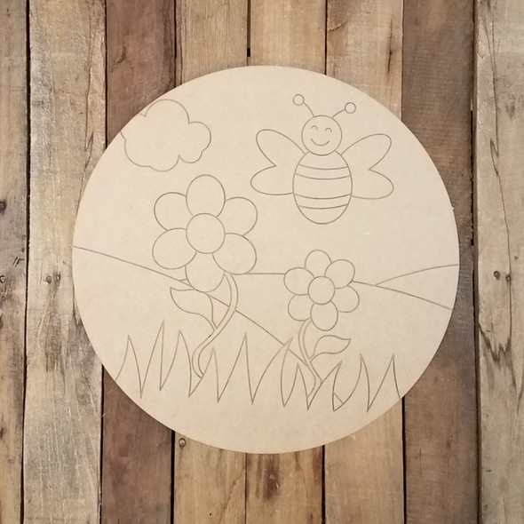 Happy Honey Bee Circle Plaque Wood Shape, Paint by Line