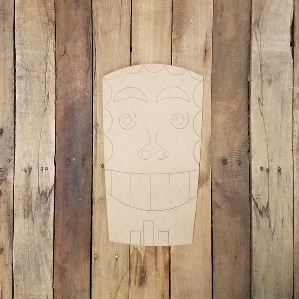 Tiki Hawaiian Backyard Statue Wood Shape, Paint by Line