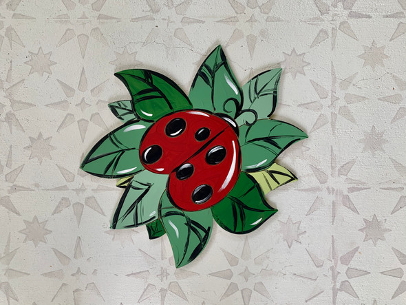Ladybug on Leaf Art Shape, Unfinished Craft, Paint by Line