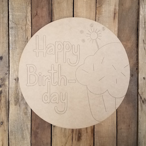 Happy Birthday Cupcake Plaque, Wood Cutout, Shape Paint by Line