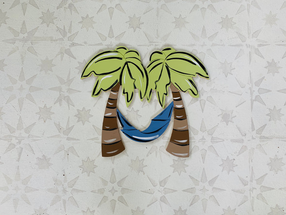 Island Palm Trees With Hammock Cutout Tropical Wood Shape, Paint by Line