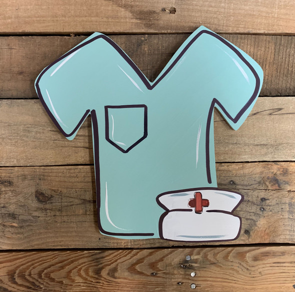 Nurse Scrub Shirt and Hat Unfinished Wood Craft Cutout