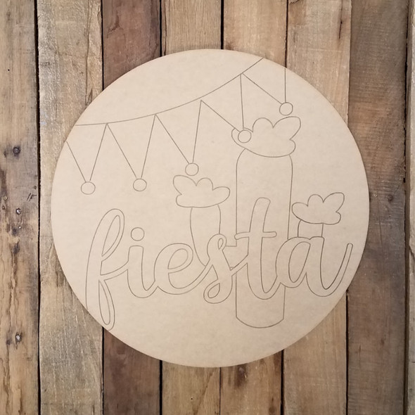 Fiesta Party Circle Plaque, Wood Craft Shape Paint by Line