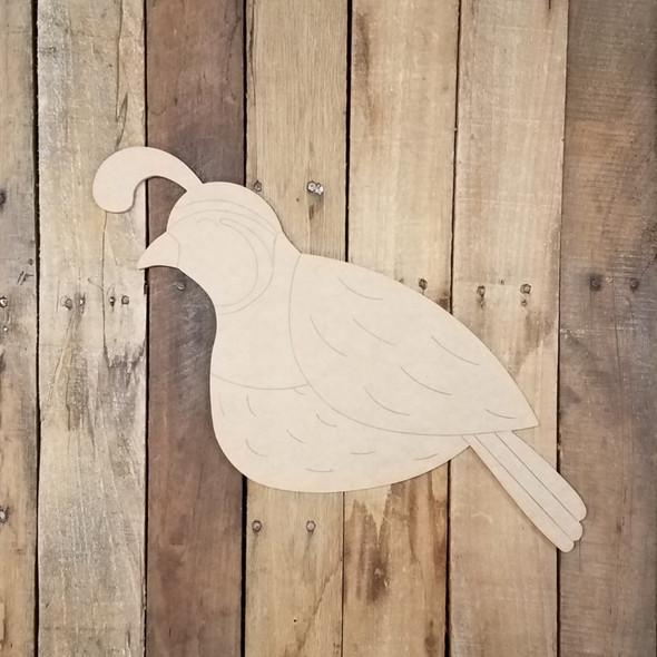 Pretty Bird Quail, New Bird Cutout Unfinished Decor DIY Paint by Line