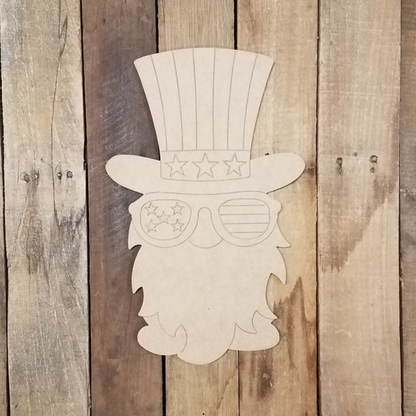 Uncle Sam Patriotic Gnome Unfinished Paint By Line Craft Shape