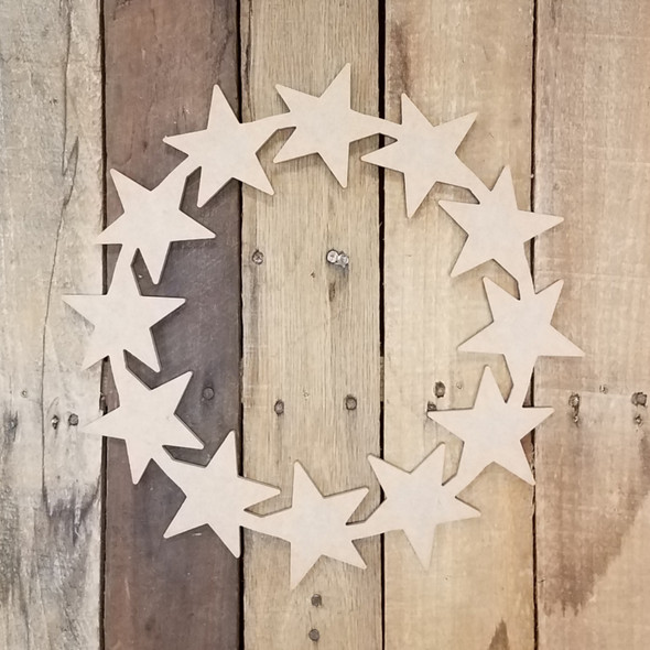 Decorative Star Wreath Cutout Unfinished DIY Art Craft Shape