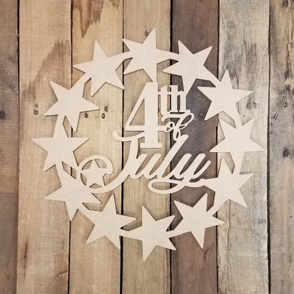 4th of July Patriotic Star Wreath Cutout Unfinished DIY Art Craft Shape