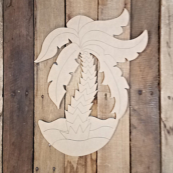 Palm Tree on Beach Cutout Tropical Wood Shape, Paint by Line