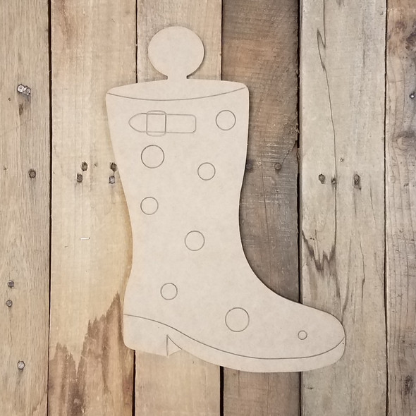 Rain Boot Attachment Set Wood Cutout, Unfinished Shape, Paint by Line Kit
