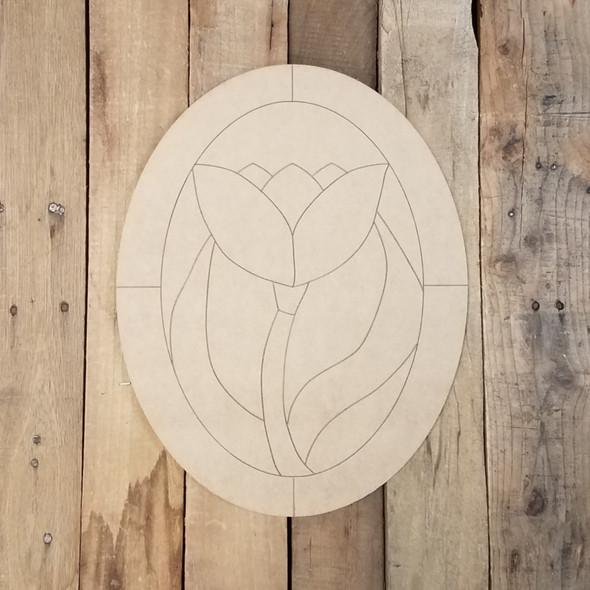 Flower Oval Stain Glass Window, Wood Cutout, Shape, Paint by Line