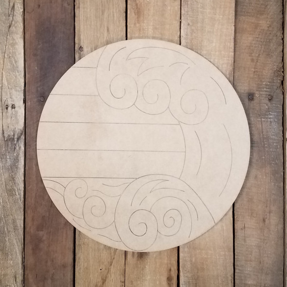 Tidal Wave Ocean Circle Wood Shape, Paint by Line
