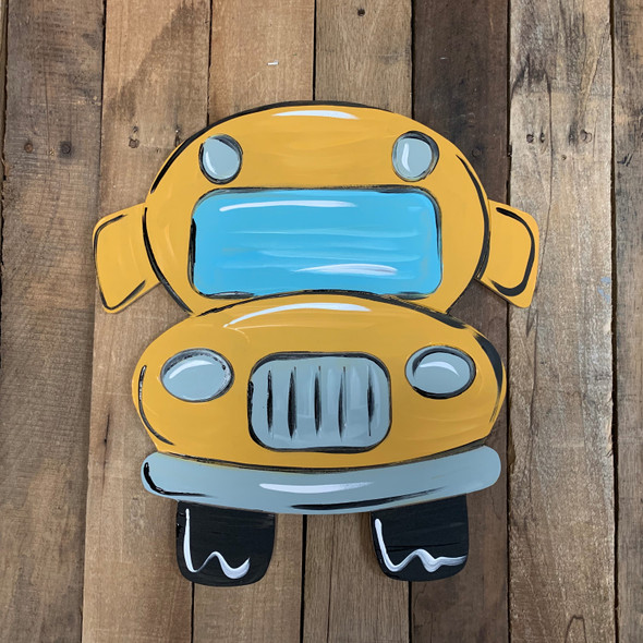 Back to School Bus Front View, Wooden Paintable, Paint by Line
