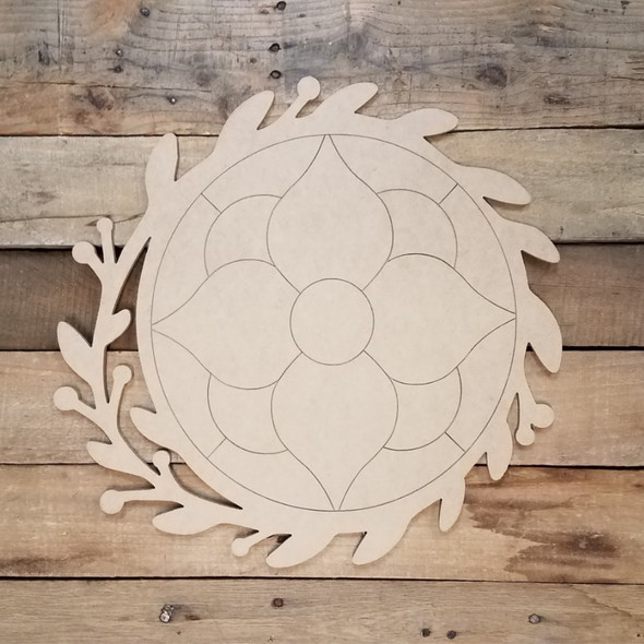 Hibiscus Flower Stain Glass In Wreath, Unfinished Shape, Paint by Line