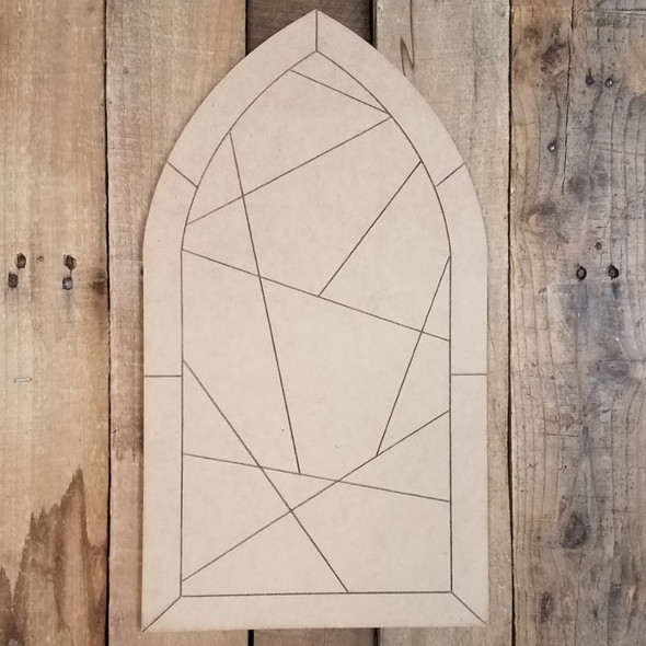 Stained Glass Cathedral Window 2 Unfinished Wood Shape, Paint by Line