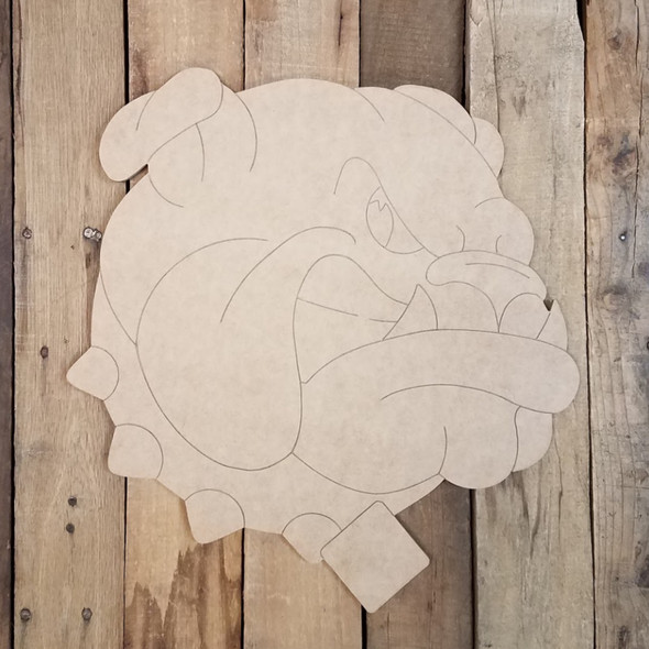 Bulldog Head With Collar, Wood Cutout, Paint by Line