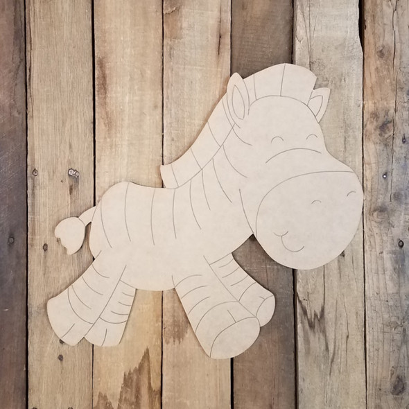 Cartoon Zebra Wood Cutout, Unfinished Craft, Paint by Line