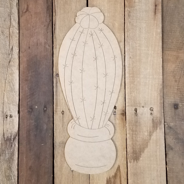Tall Cactus Shape, Wall Art, Wood Cutout, Paint by Line