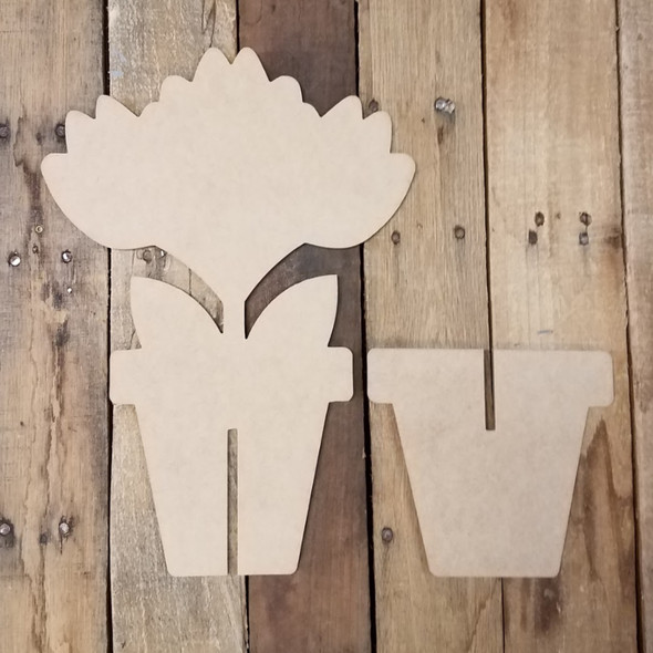 Triple Tulip Free Standing Flower Pot, Unfinished Wood Cutout