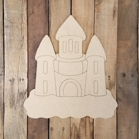 Beach Castle Shape Wood Cutout, Unfinished Craft Paint by Line