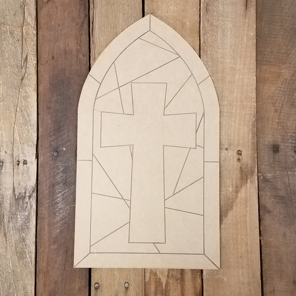 Cross Stained Glass Window Mosaic Wood Shape, Paint by Line