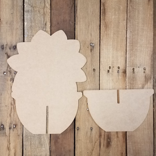 Succulent Free Standing Flower Pot, Unfinished Wood Cutout