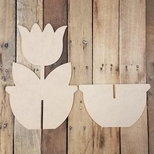Single Tulip Free Standing Flower Pot, Unfinished Wood Cutout