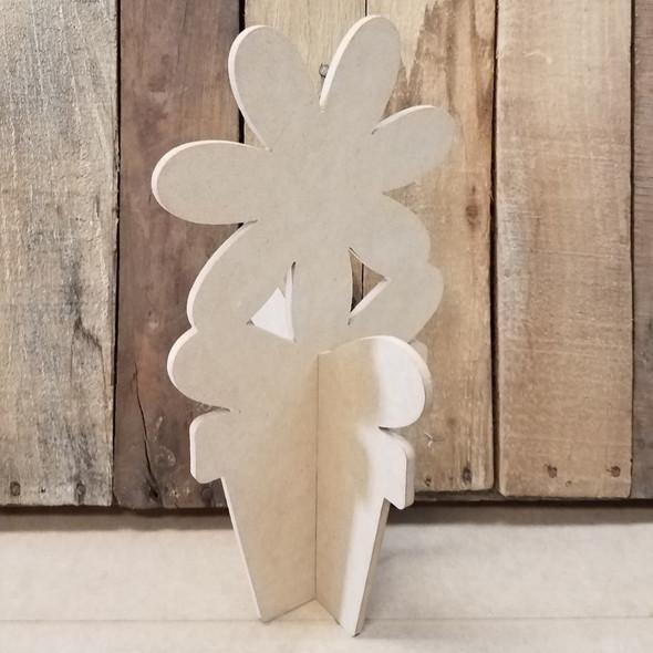 Daisy Free Standing Flower Pot, Unfinished Wood Cutout