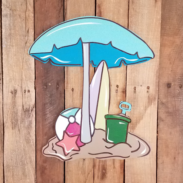 Beach Umbrella Scene Tropical Wood Shape, Paint by Line