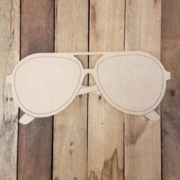 Big Beach Sunglasses, Wood Cutout, Shape Paint by Line