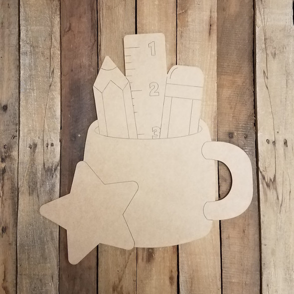 Teacher Desk Cup Cutout, Unfinished Shape, Paint by Line