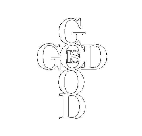 God is Good Shape Phrase Cutout, Unfinished  DIY Craft Word