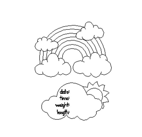 Rainbow Cloud Plaque Baby Announcement, Unfinished Paint by Line Door Hanger