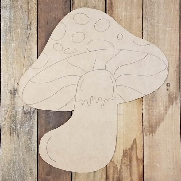 Fat Mushroom with Spots Craft Shape Paint by Line