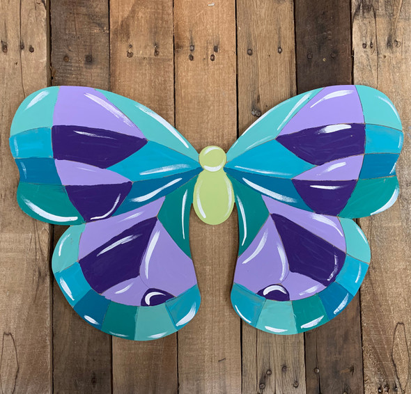Wide Butterfly Stained Glass Mosaic Shape, Unfinished Paint by Line