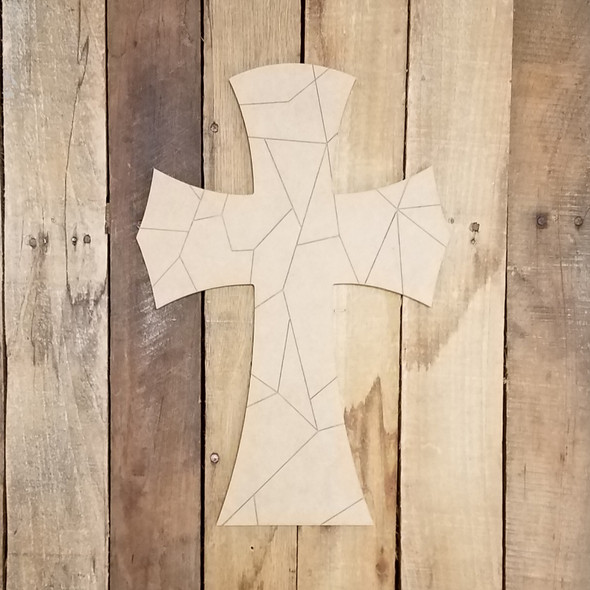 Stained Glass Cross 65 Wood Craft Shape, Paint by Line