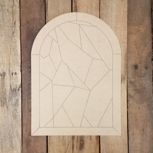 Mosaic Window Pane Stained Glass Design Wood DIY Decor, Paint by Line