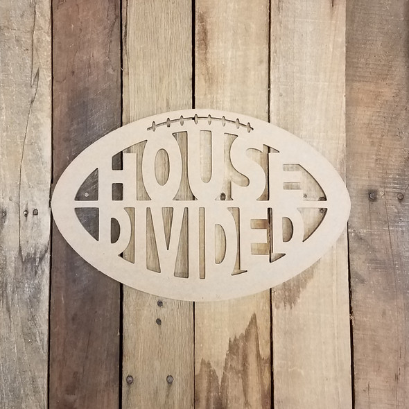 House Divided Rivalry Football Wooden Cutout, Sports Word Craft Shape