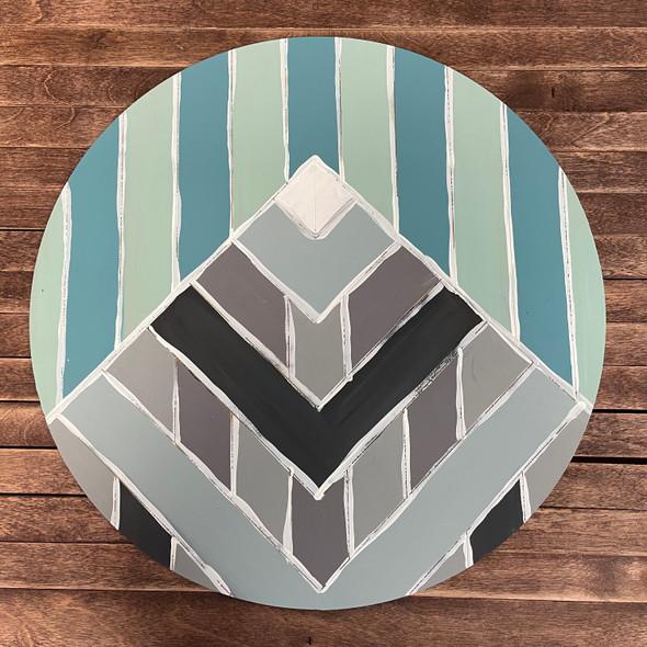 Geometric Art Mountain Circle, Boho Style Unfinished Wood Shape