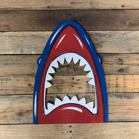 Shark Head in Water Cutout, Unfinished Craft, Paint by Line